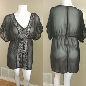Swim Suit Cover Up Sheer Black with Lace